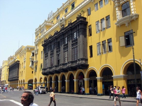 Balcones coloniales of the Municipal Palace of Lima