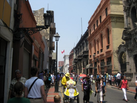 Bustling side street.