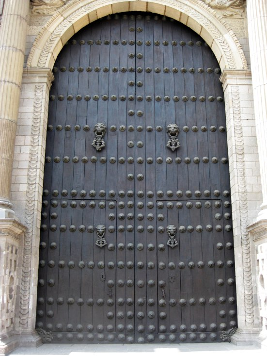 Front door of Basilica Cathedral of Lima.