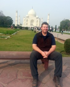 Hanging out in front of a Mahal I found in India.