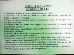 Oddly specific directives posted in a hostel.