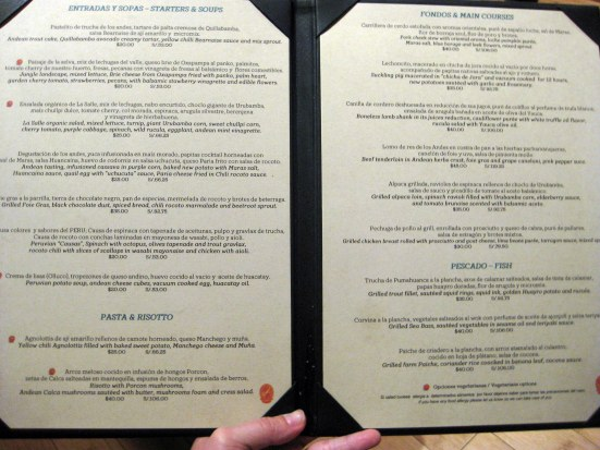 Dinner menu (in case you're curious)
