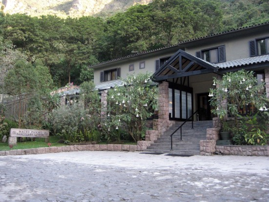 Front view of the Sanctuary Lodge. (Right where the buses pull in from Aguas Calientes.)