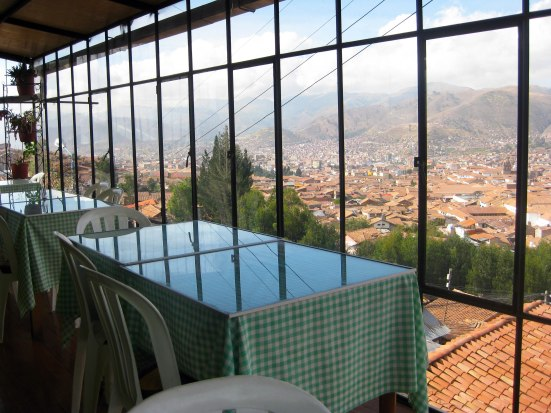 Christo Blanco dining area overlooking Cusco.