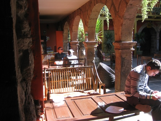 Ecopackers courtyard. Cusco, Peru.