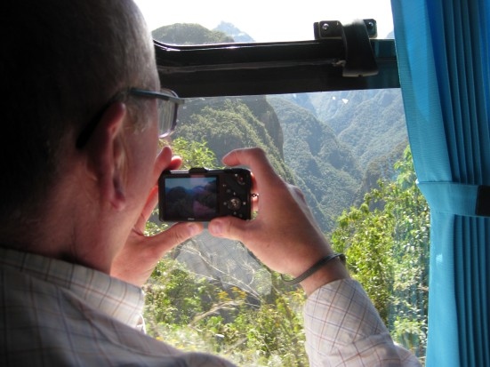 My German seatmate snapped pics as we zig-zagged up to Machu Picchu.