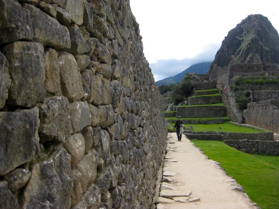 Along a wall at Machu Picchu