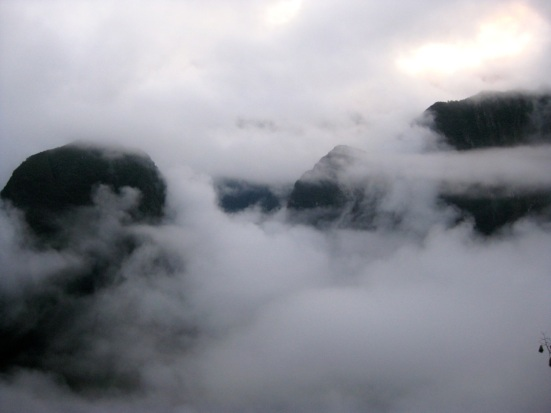 Early morning fog at Machu Picchu.