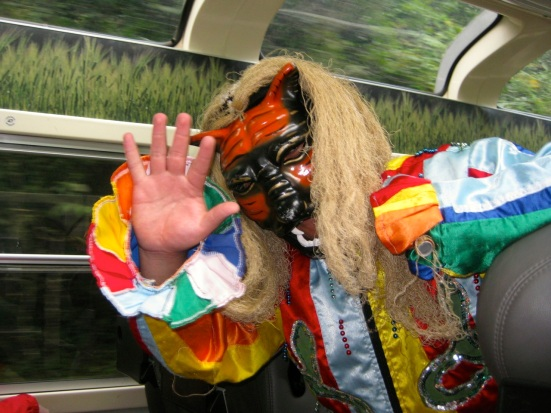 Peruvian jester or...diablo or Incan god of...trains. Or travel.