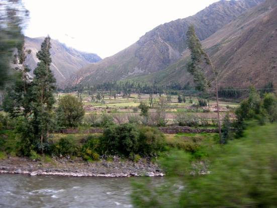 Out the train window from Aguas Calientes to Ollantaytambo.