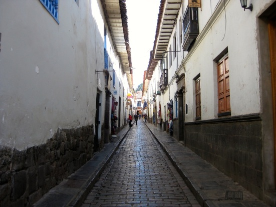 Narrow street in Central Cusco.