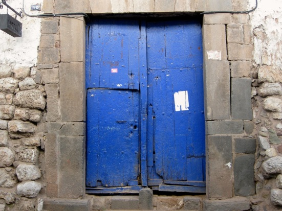 One of many blue doors in Cusco, Peru.