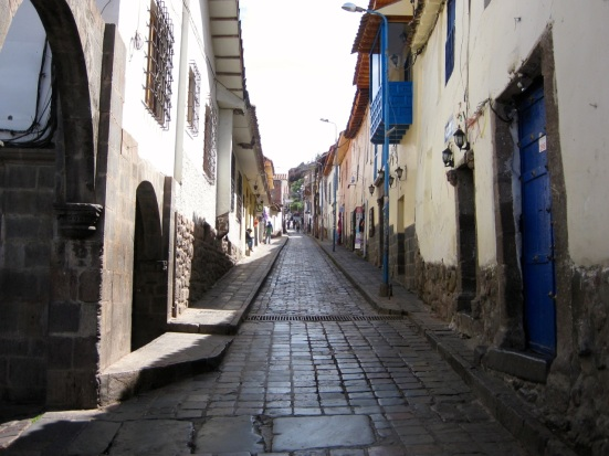 Narrow road close to the Plaza de Armas in Cusco, Peru.